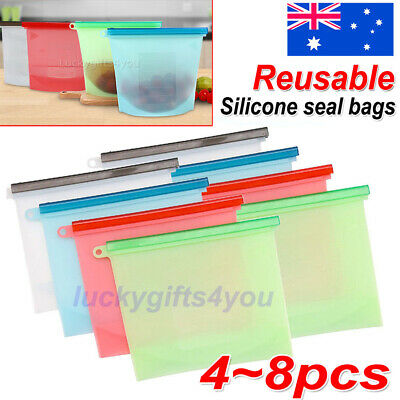 8x Reusable Silicone Food Preservation Bag Airtight Seal Food Storage Containers