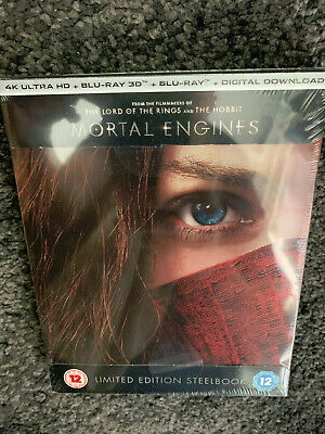 Rare Mortal Engines Uk 4K Uhd And 3D/2D Blu Ray Steelbook Brand New