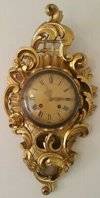 Swedish Gilt Carved Wall Clock By Westerstrand. Vintage.