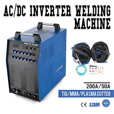 4-in-1 TIG AC/DC MMA ARC 200A PULSE 50A Plasma Cutter HF Inverter Welder IGBT