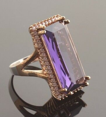 925 Sterling Silver Handmade Authentic Turkish Amethyst Ladies Ring Size 7,5