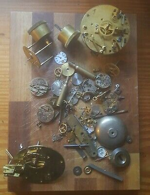 Job Lot Antique Vintage Clock Parts - Brass Movements, Dials & More. Steampunk