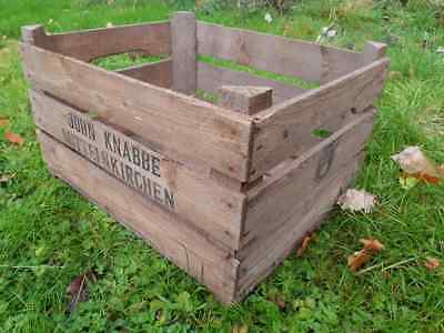 3 Slatted Vintage Wooden apple Crate Rustic Old Bushel Box - Shabby Chic Storage