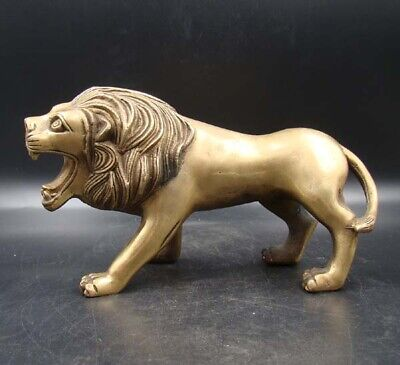 200mm Collectible Handmade Carving Statue Copper Brass Lion Deco Art