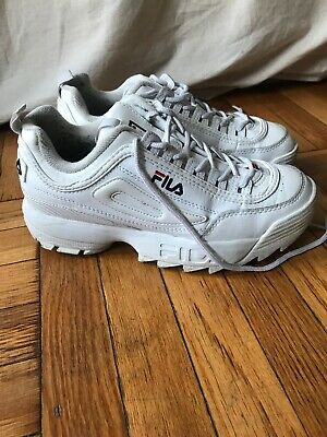 Fila Disruptor II Sneakers Shoes Womens 8.5 White Navy Red Gently Used