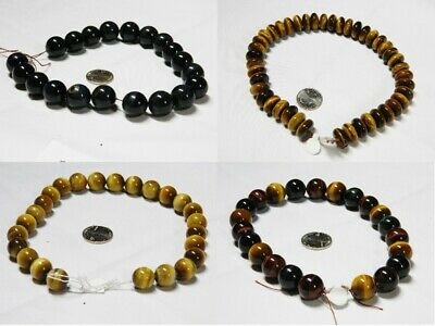 Large Tiger's Eye Beads, Blue, Blond & Mix (Red, Blue & Blond), Round & Rhondell