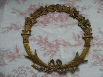 ANTIQUE FRENCH GILT BRASS  CIRCULAR MOUNT / PLAQUE - Beautifully detailed