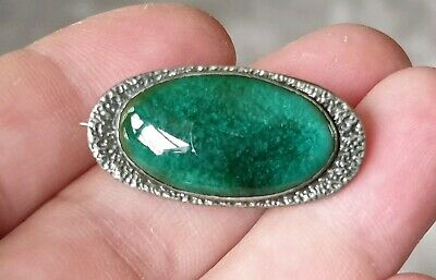 Vintage Ruskin Jewellery Arts And Crafts Green Enamel Silver Pewter Brooch Pin