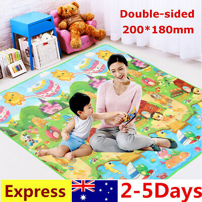 2mx1.8m XXL Nontoxic Baby Kids Play Mat Floor Rug Picnic Cushion Crawling Mat !
