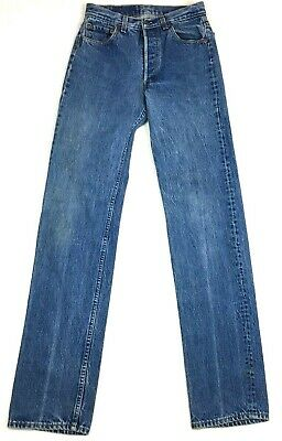 0031a289 True Vintage Levis 501 Button Fly Denim Mom Jeans High Rise Meas. 28x35  Straight