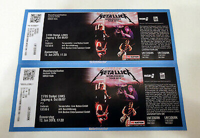 2 x Metallica Köln Front of Stage 2 (2.FOS) Tickets 13.06.2019