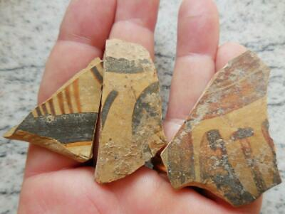 Three Fine Ancient Greek Painted Pottery Fragments 500Bc Found France