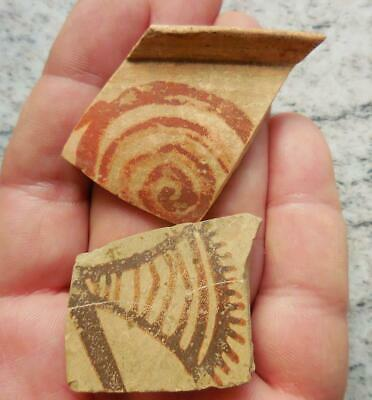 Two Fine Ancient Greek Painted Pottery Fragments 500Bc Found France