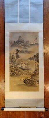 Landscape Painting on Paper mounted in the Japanese manner as a Scroll