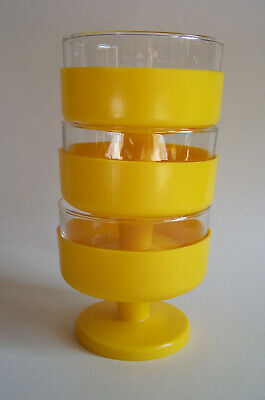 Fun vintage retro stacking yellow plastic dishes x 3 with glass liners 1970s