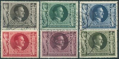 Germany 3rd Reich 1943 Mi 844-849 Hitler's 54th Birthday most used (847 unused)