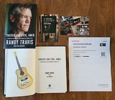 Forever and Ever, Amen by Randy Travis SIGNED guitar shaped bookplate HCDJ 2019