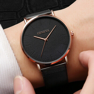 Simple Women Men Watches Top Brand Luxury Stainless Steel Mesh Quartz