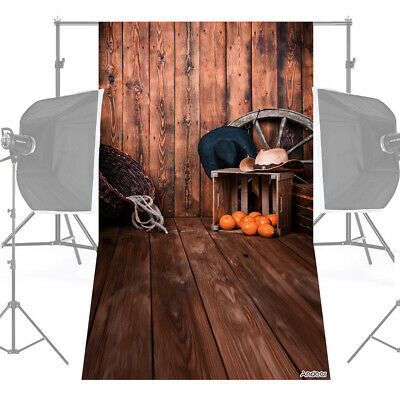 Andoer 1.5 * 0.9m/5 * 3ft Farm Theme Photography Background Wood Floor Wall P9S0