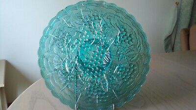 GREEN DEPRESSION GLASS PLATE with stand  24cm diameter .