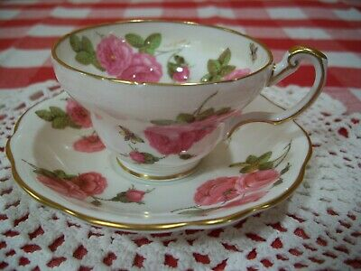 """Foley China Tea Cup and Saucer """"Century Rose"""" Pattern"""