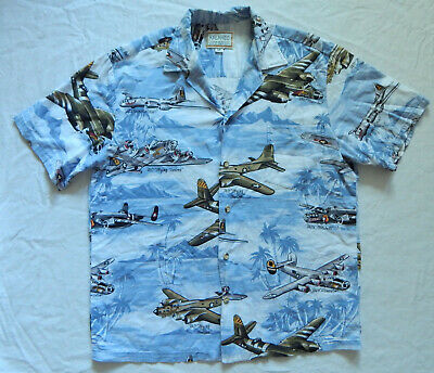 4ffa366a Kalaheo Hawaiian Shirt USA Air Force WW2 Planes - Medium Mens Gray Airplanes