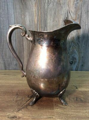 Vintage Crescent Silver Co. Silverplate Footed Water Pitcher With Ice Guard I4