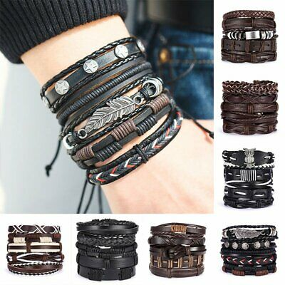 6pcs Fashion Men Punk Leather Wrap Braided Wristband Cuff Beaded Bracelet Bangle