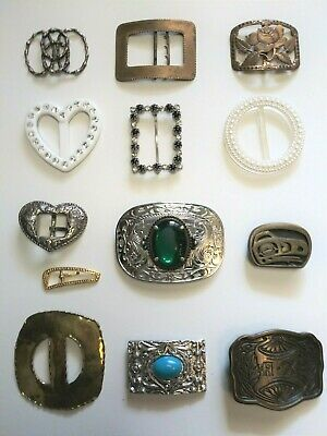 Belt Buckle Lot Men's Women's Antique Metal Plastic Western Rhinestone Crafted