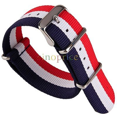 24mm Nylon Fabric Watchband Stainless Buckle Watch Woven Wristwatch Band