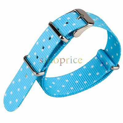 20mm Light Blue Nylon Fabric Cute Watchband Watch Woven Wristwatch Band
