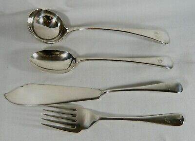 4 Antique WALKER & HALL heavy Silver Plate SERVING Fork Ladle Spoon Fish Knife