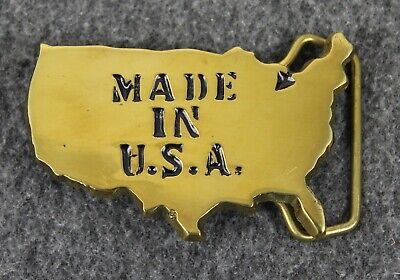 Vintage 80's 1981 Made In USA Solid Brass Baron Belt Buckle