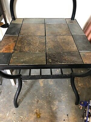 Outdoor Side Table Steel Frame Ceramic Tile Top Patio Pool End Coffee Table New