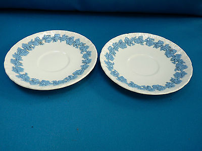 2 Wedgwood Embossed Lavender On Cream Queensware Saucers With A Shell Edge
