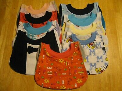 """9 Toddler Bibs 14-15"""" neck Pull Over Head T-Shirt special needs drool cotton"""