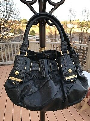 6f10c92d68 JUICY COUTURE Black Leather Large Tote GOLD Tone Hardware Bag BEAUTIFUL RARE