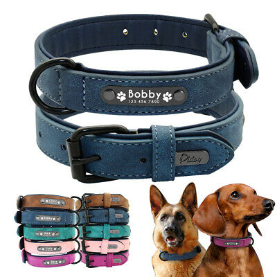 Velvet Personalized Dog Collar Small Medium Large Dogs Leather Walking Collars