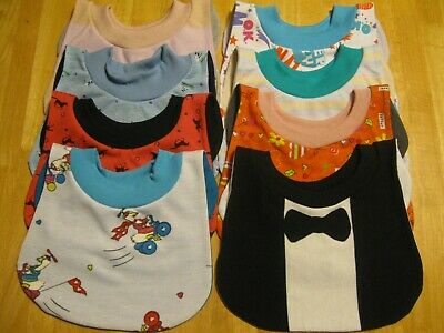 """8 Toddler Bibs 14-15"""" neck Pull Over Head T-Shirt special needs drool cotton"""