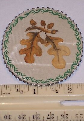 Very Rare Old Antique Sewing Satin Pin Cushion Hnd Pntd Oak Leaves Acorns C1860