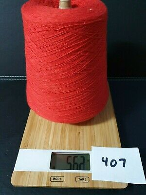 Knitting Machine Yarn On Cone 2 Ply  Polyester Cotton Red 561 Grams