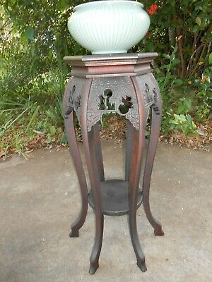 ANTIQUE Carved Pedestal Vase Plant Stand Table~Wooden~RARE 6 Legged~2 Tier