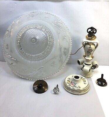 Antique Ceiling Light Fixture Porcelier Frosted Glass Art Deco Harmony House
