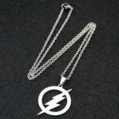 10pcs cool Flash man lightning Pendant Stainless Steel chain Necklace