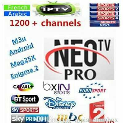 Neo pro 2 abonnement 12 mois CHAINES FULL HD,SD,VOD,SÉRIES, vlc m3u mag ios gse