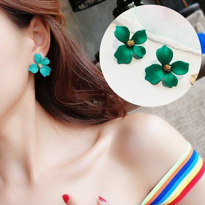 Hot Fashion Boho Painting Big Flowers Ear Stud Earrings Women Charm Jewelry Gift