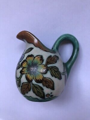 Antique Lizzy Royal Loupa Miniature Pottery Jug Blue Green Brown Floral Design