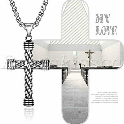 Men's Silver Vintage Religious Cross Stainless Steel Necklace Pendant Chain
