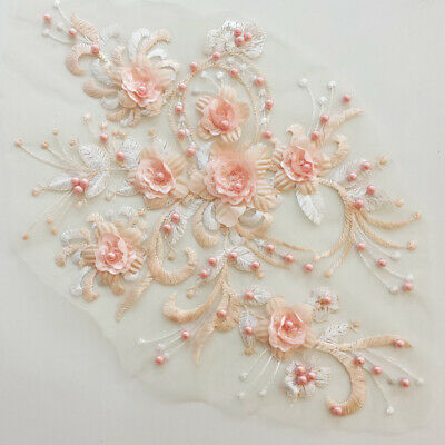 Flower Embroidery Beads Lace Applique 3D Handmade DIY Wedding Dress Patch 1 Pc