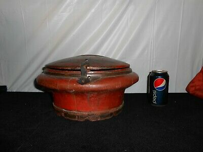 Antique old Chinese RED Wooden Round locking STORAGE BOX~Oriental Asian